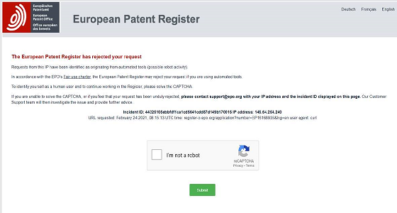 BOT protection system for the Online European Patent Register