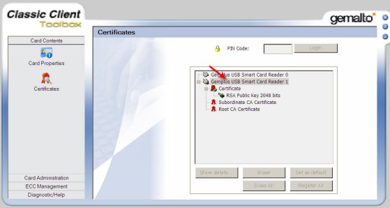 Epo smart cards in gemalto 63 go to start programs gemalto classic client classic client toolbox certificates you will see the window below with the reader reheart Choice Image